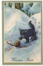 Animal CHAT carte de bonne année par illustrateur chat dans la neige