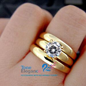 18k yellow gold GF solid engagement wedding ring set made with swarovski