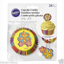 24 WILTON NEW CUPCAKE LINERS BAKING CUPS SUMMER HIBISCUS FLOWER COMBO PICK PICKS