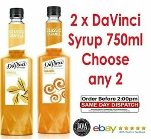 CHOOSE 2 x DaVinci Gourmet Flavoured Syrup 750ml (10 Flavours) Barista Coffee