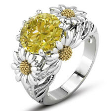 Citrine Daisy Flower Ring Round Cut Ring Wedding Engagement Gift Ring JewelryM&C