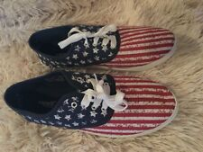 CAPELLI Womens Flat Shoes American Flag Red White Blue Sneakers Sz 11 NEW