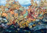 painting art vintage landscape old autumn impressionism decor rare collection