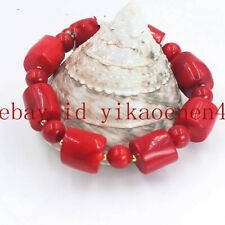 Rare Natural Red Cylinder & Round Coral Gemstone Bracelet 7.5'' AAA++