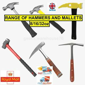 8/16/32oz Range of Claw Hammers Rubber Mallets Hammers Joiners Builders DIY Hobb