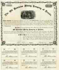 1868 Old Dominion Mining Co of Nevada Bond Certificate