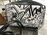 Michael Kors Jet Set EW Graffiti Collection Crossbody Bag in Black / Optic White