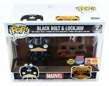 Funko Pop Marvel Black Bolt and Lockjaw SDCC 2018 Vinyl Figure Set PX Glow Dark