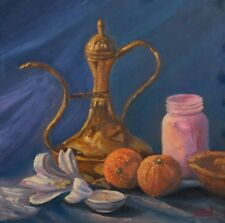 """Original still life oil painting """"Old kettle, oranges and flower"""""""