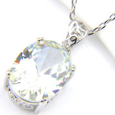 Austrian Natural White Fire Topaz Gemstone Silver Necklace Pendants for Wedding