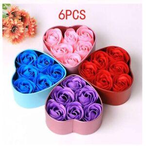 Scented Bath Soap Rose Flower Petal 6 Piece Heart Box