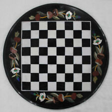 """12""""  Marble Chess game Table Top inlaid stones Pietra Dura Work"""