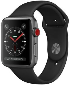 Apple Watch Series 3 42mm Space Gray Case Black Sport Band GPS + Cellular Used