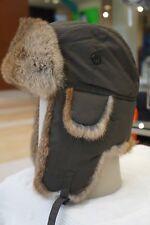 Hunting Aviator Alaskan Trail Rabbit Fur Hat Bomber Olive Green Medium (M)