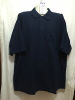 BNWT Mens Sz L LW Reid Brand Navy Blue Pique Knit Short Sleeve Polo Top Shirt