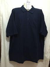 BNWT Mens Sz 4XL LW Reid Brand Navy Blue Pique Knit Short Sleeve Polo Top Shirt