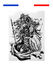 ►► Tatouage Temporaire Tattoo Ink Spartiate Gladiateur 300 Lion Film Bouclier