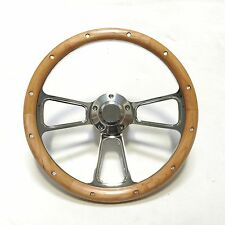 Steering Wheel Real Alderwood & Billet with Matching Horn button SHIPS FREE!