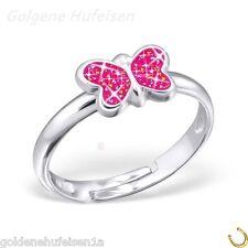 Pink Glitzer Schmetterling Ring 925 Echt Silber Kinder Geschenkidee