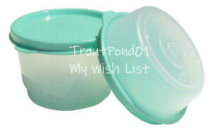 TUPPERWARE Snack Cup 4 oz + Half Size 2 oz Small Bowl Set Cool Mint Green Seals
