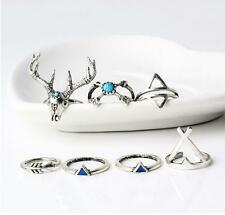 7pcs Vintage Retro Antlers Turquoise Triangular Arrows Rings Boho Ring Jewelry