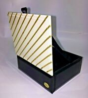 Black Glass Trinket Box with White & Gold Striped Lid