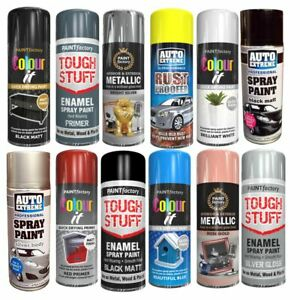 All Purpose Spray Paint Aerosol Matt Gloss Satin finish Metal Wood Plastic 400ml