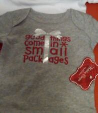 """NWT INFANT BODYSUIT """"GOOD THINGS COME IN SMALL PACKAGES"""" CHRISTMAS 0-3 MONTHS"""