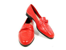 TROTTERS RELATE Women's Comfort Shoes Red Leather Slip On Loafer 7.5M