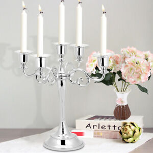 Alloy 5 Arms Candle Holder Vintage Candlestick Wedding Candleabra Centrepiece