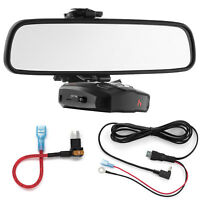 Mirror Mount Bracket + Direct Wire Power Cord + Micro2 Fuse Tap for Cobra