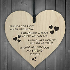 Friendship Sign Best Friend Plaque Gift Shabby Chic Hanging Heart REAL WOOD