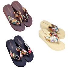 Fashion Bohemia Floral Beach Sandals Wedge Platform Thongs Slippers Flip Flops