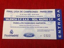 ENTRADA TICKET VALENCIA REAL MADRID SPAIN FINAL CHAMPIONS LEAGUE PARIS 2000