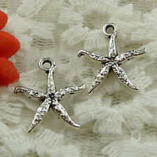 Free Ship 110 pieces Antique silver starfish charms 19x17mm #1609