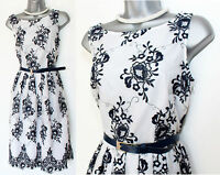MONSOON White Embroidered Lace Cocktail Prom Dress With Belt UK 12 EU-40