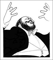 Al Hirschfeld's LUCIANO PAVAROTTI Hand Signed Limited Edition Lithograph