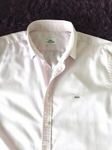 Super Cool 100% Genuine Mens Lacoste Pink & White Check Shirt In Size 44, XL