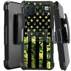 Holster Case For LG K92 5G (2020) Kickstand Phone Cover - GREEN CAMO 1/2 US FLAG