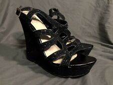 New Vince Camuto Sparkly Wedge Black Mesh Leather Heels Formal Platform 8.5 NWOB