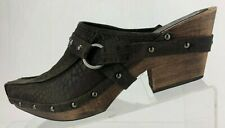 Donald J Pliner Clogs Studded Brown Suede Casual Slide Mules Italy Womens US 8 N