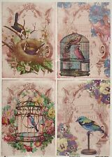Rice Paper Vintage Birds on Pink for Decoupage Decopatch Scrapbook Craft Sheet