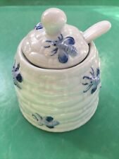New ListingAndrea By Sadek Blue & White Bees Honey Pot Jar Sugar Bowl With Spoon
