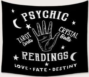 "NEW 60""x52"" Psychic Reading Crystal Ball Tarot Black Tapestry Wall Decor w/Clip"