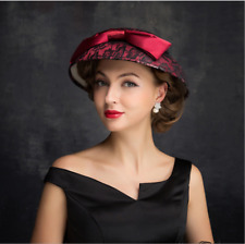 Red Retro Lace Women's Wedding Party Formal Hat Derby/Church Evening Cap Veil