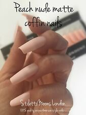 Ballerina Coffin  False NAIL  360 Pieces Full Cover Or Tips peach nude matte