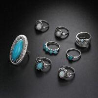 8pcs / set bagues en opale turquoise plaqué argent sterling 925 réglé mariage