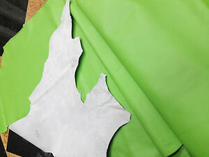 COWHIDE GENUINE LEATHER AMERICAN BEAUTIFUL LIME GREEN HIDE DIFFERENT SIZES