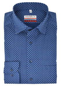 Marvelis Modern Fit Hemd - Under-Button Down Kragen- Muster Blau Dunkelblau