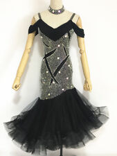 Latin Competition Dance Dress Black Full Skirts Made with Swarovski Stone Tango